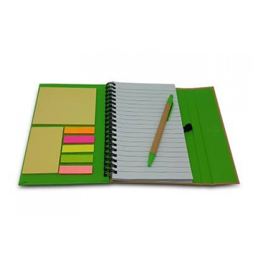 Notebook with memo,pen & sticky pad green
