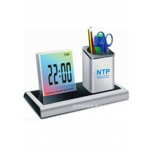 2 in 1 desktop digital clock/pen holder