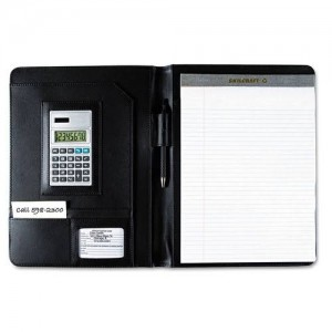 Black portfolio with brown strip/calculator A4 big