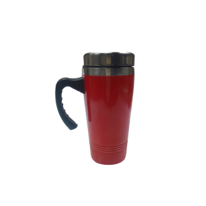 Thermo mug red metallic long black handle