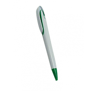 Plastic pen white body green clip and tip